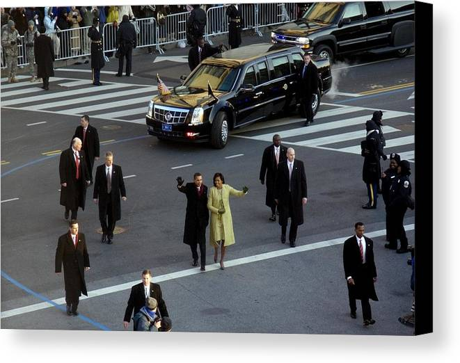 History Canvas Print featuring the photograph Newly Inaugurated President by Everett