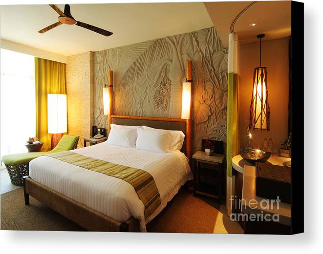 Hotel Canvas Print featuring the photograph Nice Hotel-room by Atiketta Sangasaeng