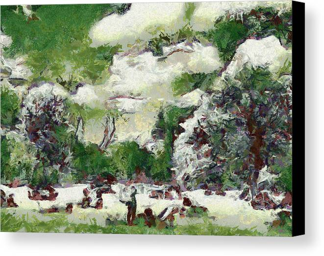 Nature Canvas Print featuring the painting Picnic In Park by Odon Czintos