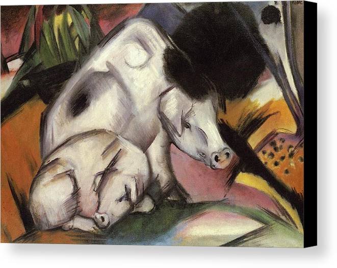 Pigs Canvas Print featuring the painting Pigs by Franz Marc
