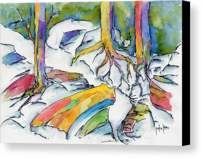 Roots Canvas Print featuring the painting Roots And Rocks by Pat Katz