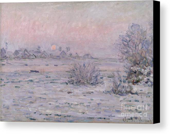 Claude Monet Canvas Print featuring the painting Snowy Landscape At Twilight by Claude Monet