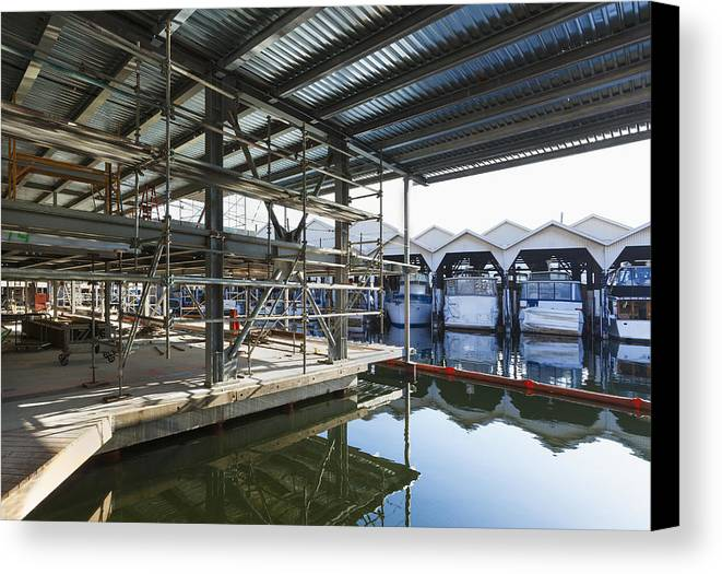 No People Canvas Print featuring the photograph Structural Steel Construction Creating by Don Mason