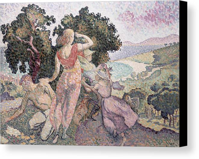 The Excursionists Canvas Print featuring the painting The Excursionists by Henri-Edmond Cross