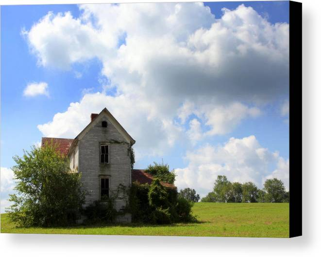 Haunted Houses Canvas Print featuring the photograph The House On The Hill by Karen Wiles