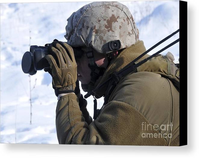Marine Canvas Print featuring the photograph U.s. Marine Looks by Stocktrek Images