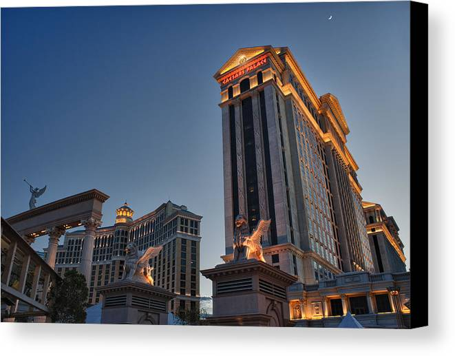 Hdr Canvas Print featuring the photograph Vegas Moon by Stephen Campbell