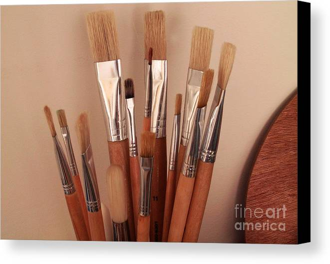 Brushes Palette New Tools Artist Material Wait Work Create Canvas Print featuring the photograph Waiting For You by Vilas Malankar