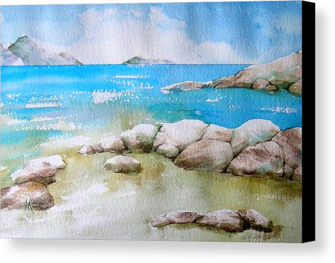 Landscape Canvas Print featuring the painting White Coast by Khromykh Natalia