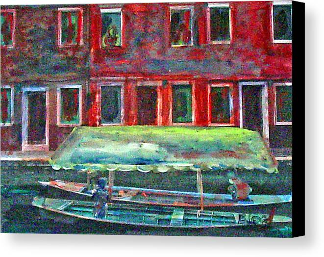 River Canvas Print featuring the painting China Village by Peggy Blood