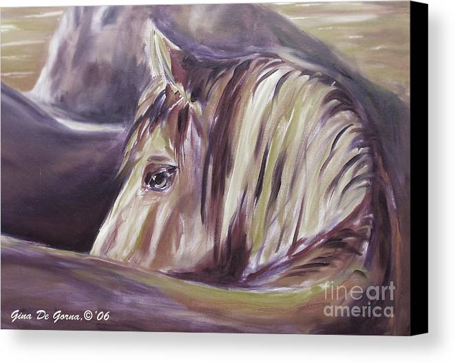 Brown Canvas Print featuring the painting Horse World Detail by Gina De Gorna