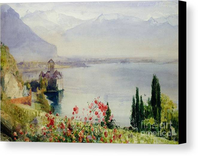 The Castle At Chillon Canvas Print featuring the painting The Castle At Chillon by John William Inchbold