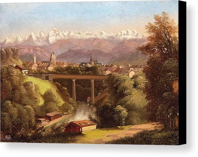 Hubert Sattler (vienna 1817-1904 Vienna) Views Of Bern And The Bernese Oberland Canvas Print featuring the painting views of Bern and the Bernese Oberland by Hubert Sattler
