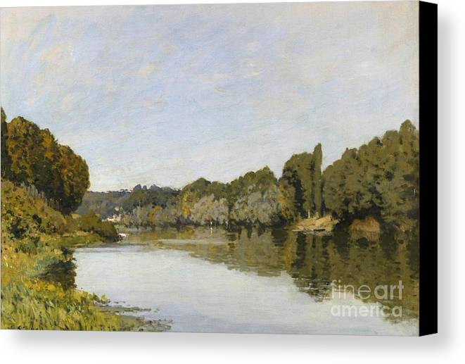 The Seine At Bougival Canvas Print featuring the painting The Seine At Bougival by MotionAge Designs