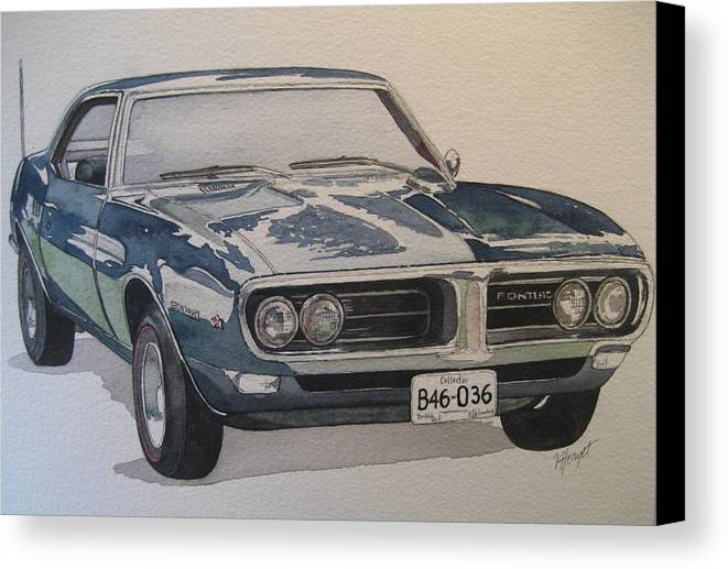 Muscle Car Canvas Print featuring the painting 68 Firebird Sprint by Victoria Heryet