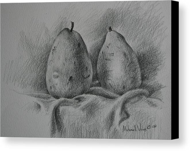 Graphite On Paper Canvas Print featuring the drawing A Pair Study by Michael Vires