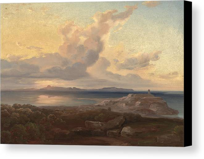 Carl Anton Joseph Rottmann Canvas Print featuring the painting A View Of Aegina by Celestial Images