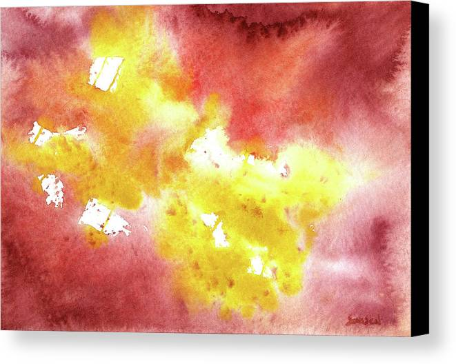 Yellow Canvas Print featuring the painting Abstract Yellow Connectors by Sean Seal