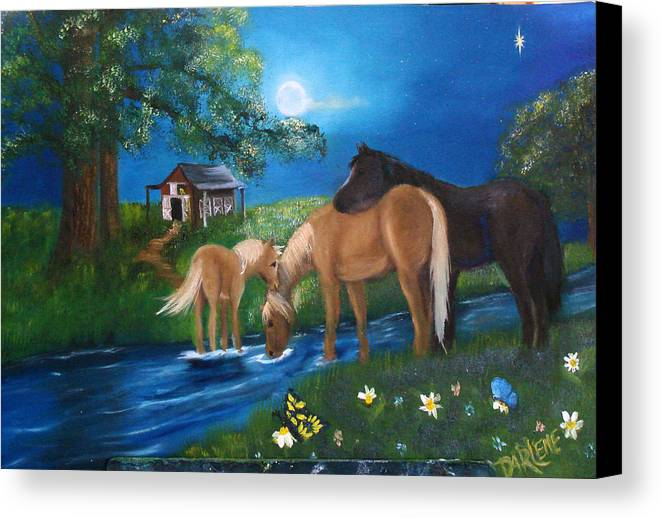 Midnight Canvas Print featuring the painting Alyssas Horses by Darlene Green