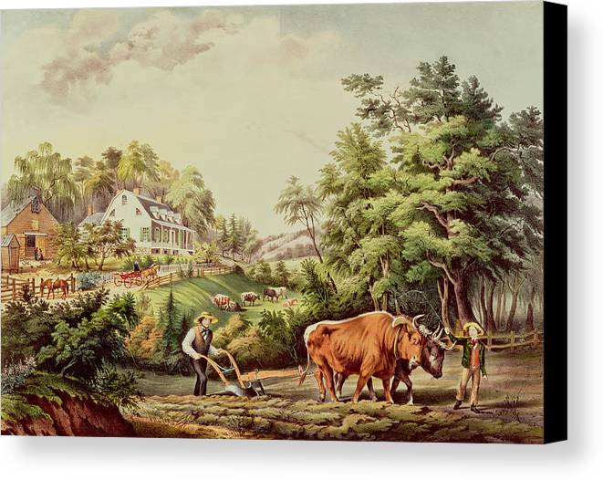 American Canvas Print featuring the painting American Farm Scenes by Currier and Ives