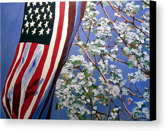 Flag Canvas Print featuring the painting American Spring by Jim Phillips