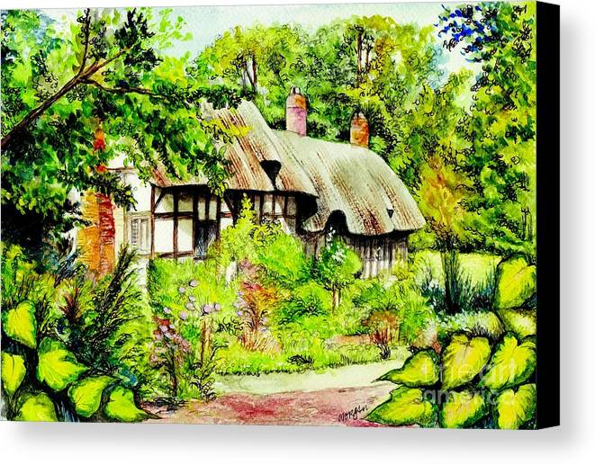 Anne Canvas Print featuring the painting Anne Hathaways Cottage by Morgan Fitzsimons