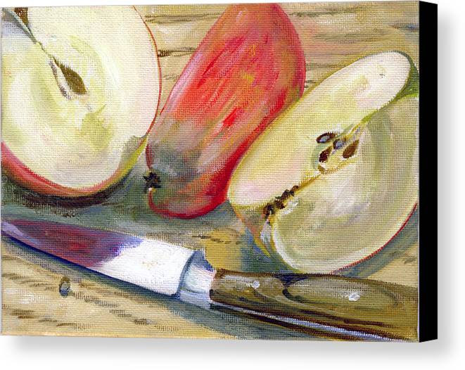 Still-life Canvas Print featuring the painting Apple by Sarah Lynch