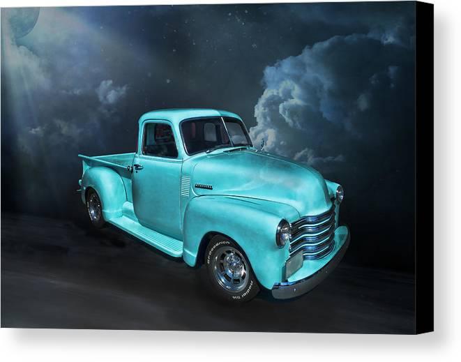 Chevy Canvas Print featuring the digital art Aqua Blues by Anita Hubbard