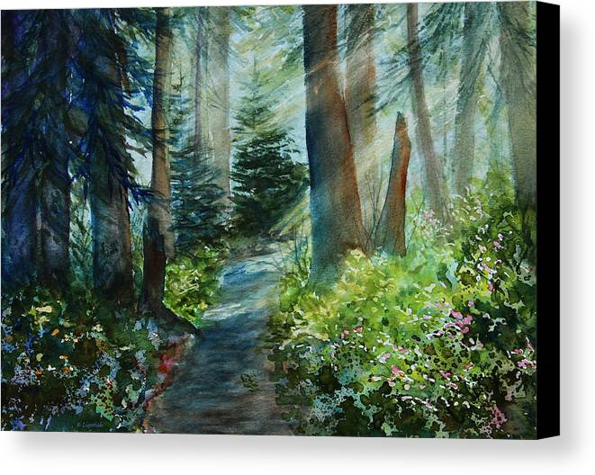 Landscape Canvas Print featuring the painting Around The Path by Kerri Ligatich