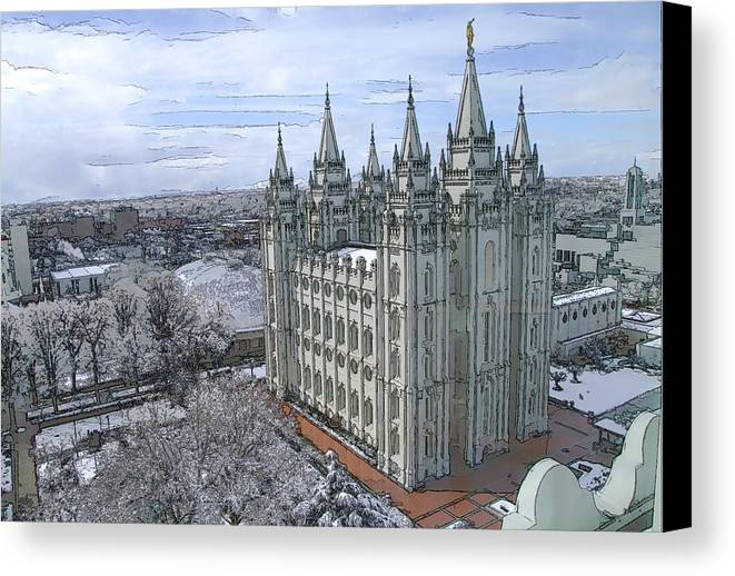 Mormon Canvas Print featuring the digital art Artistic Rendering Of The Salt Lake City Lds Temple by Richard Coletti