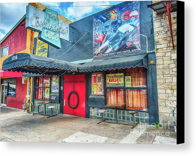 Austin Canvas Print featuring the photograph Austin Continental Club by Tod and Cynthia Grubbs