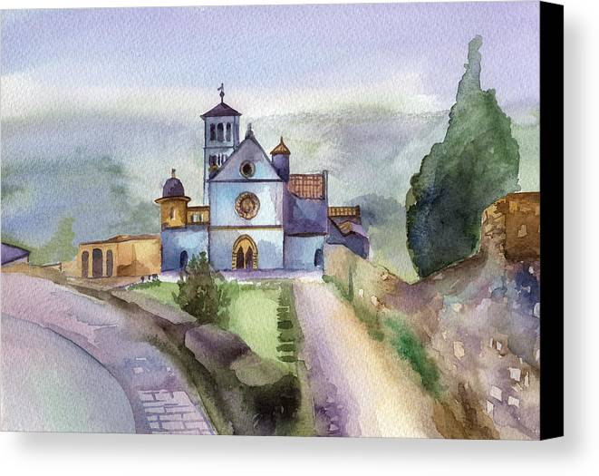 Watercolour Canvas Print featuring the painting Basilica Of St Francis Assisi by Lydia Irving