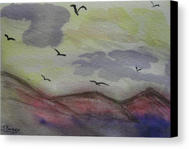 Mountains Canvas Print featuring the painting Birds In Flight by Dottie Briggs