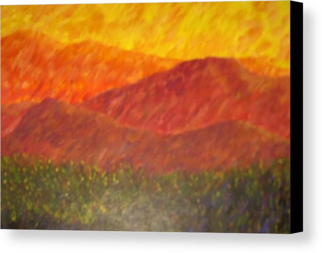 Landscape Hills Mountains Bright Canvas Print featuring the painting Blur by Sally Van Driest