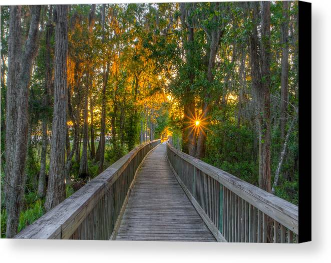 Tampa Bay Canvas Print featuring the photograph Boardwalk Sunset by Lance Raab