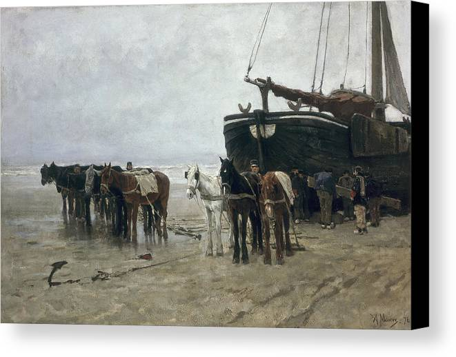 Boat Canvas Print featuring the painting Boat On The Beach At Scheveningen by Anton Mauve