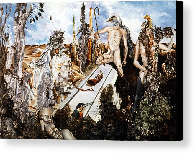 Surrealism Canvas Print featuring the painting Bogomils Court by Otto Rapp