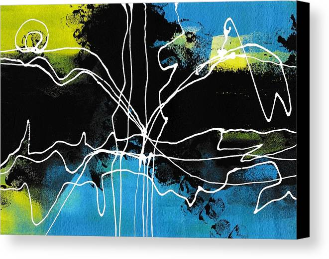 Art Canvas Print featuring the painting Bold White Lines Three by Louise Adams