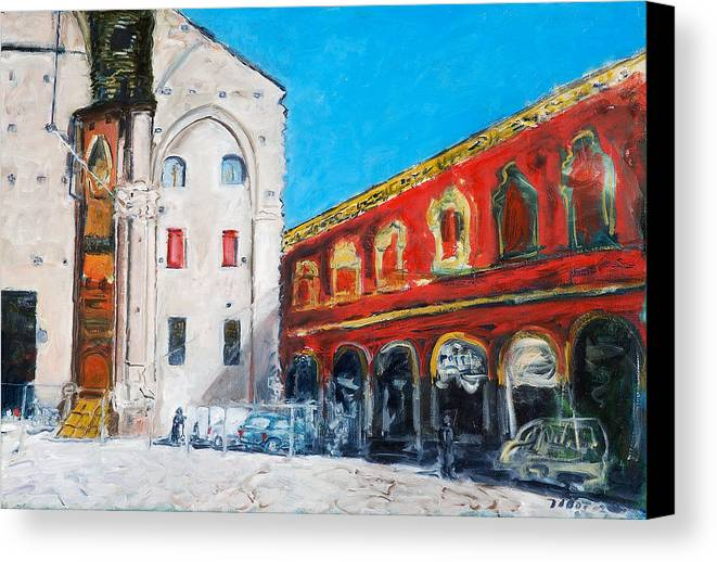 Cityscape Square Church Gallery White Red Blue Sky Canvas Print featuring the painting Bologna Plaza by Joan De Bot