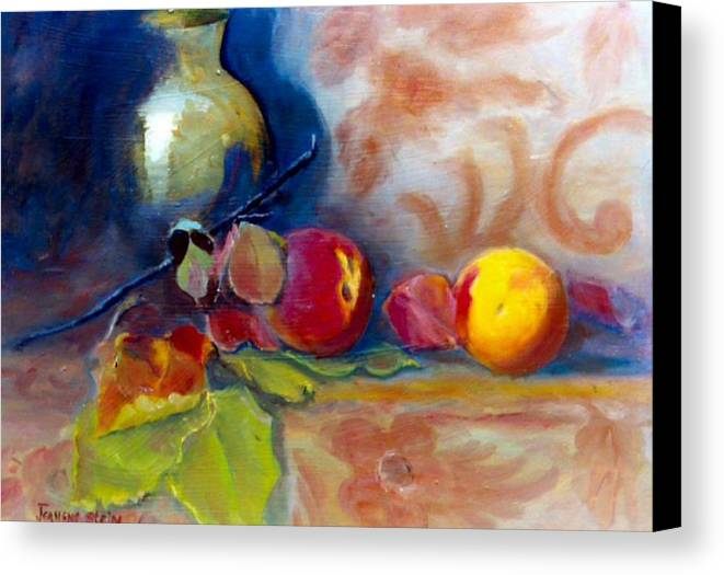 Still Life.brass Canvas Print featuring the painting Brass And Peaches by Jeanene Stein