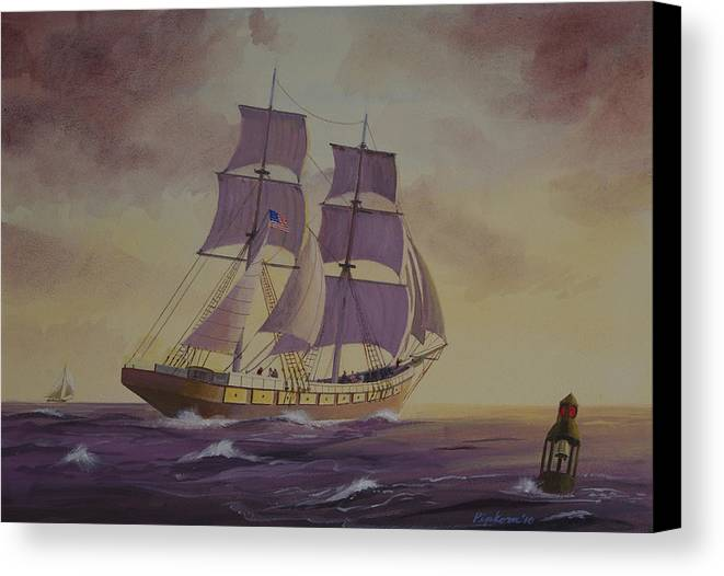 Ships Landscape Lake Superior Paintings Minnesota Duluth Canvas Print featuring the painting Brig Niagra On Lake Superior by Werner Pipkorn