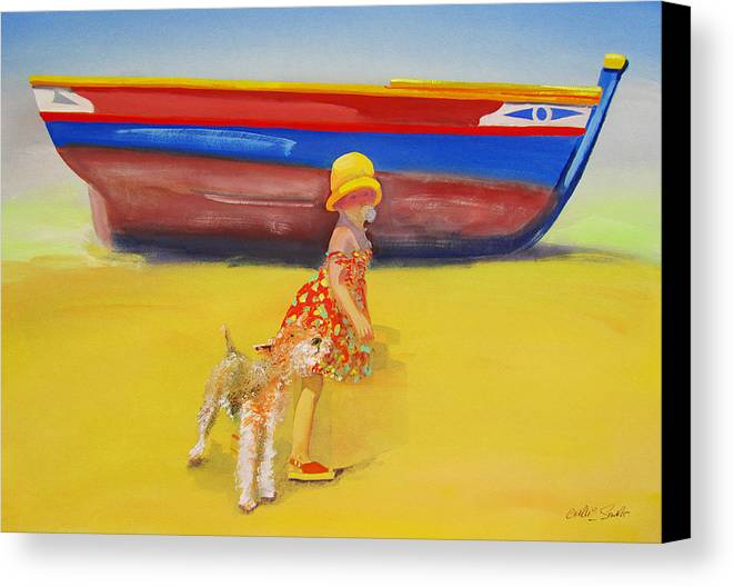 Wire Haired Fox Terrier Canvas Print featuring the painting Brightly Painted Wooden Boats With Terrier And Friend by Charles Stuart