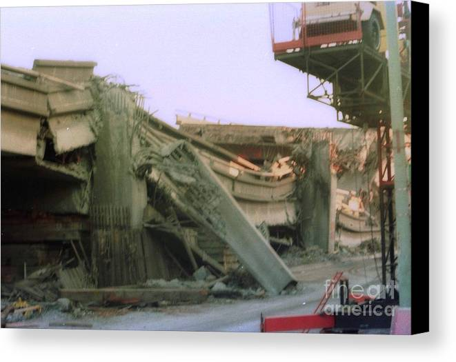 Earthquake Canvas Print featuring the photograph Broken Freeway Oakland Earthquake by Ted Pollard