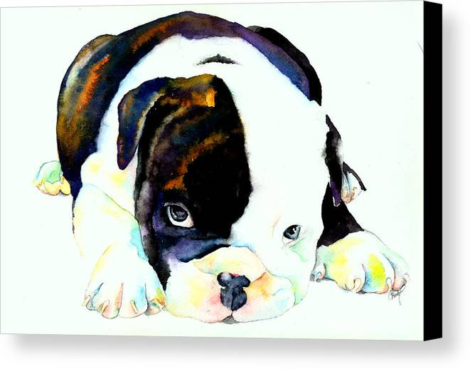 Puppy Canvas Print featuring the painting Bulldog Puppy by Christy Freeman