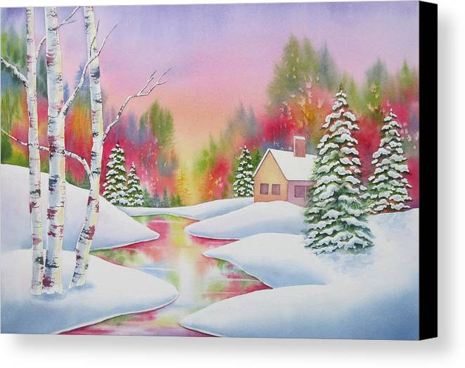 Landscape Canvas Print featuring the painting Cabin In The Woods by Deborah Ronglien