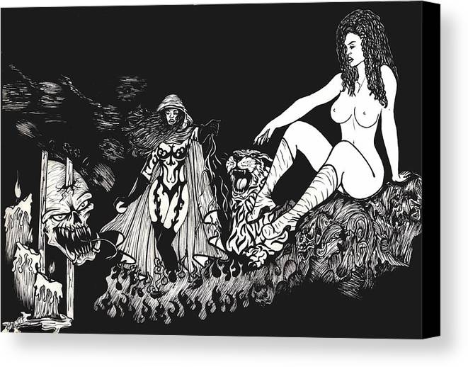 Nude Canvas Print featuring the print Candlelight by Kimberly Morgan