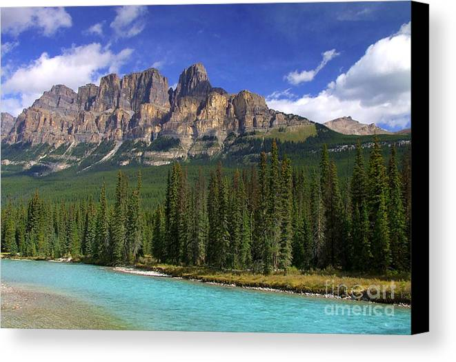 Blue Sky Canvas Print featuring the photograph Castle Mountain Banff The Canadian Rockies by Rod Jellison