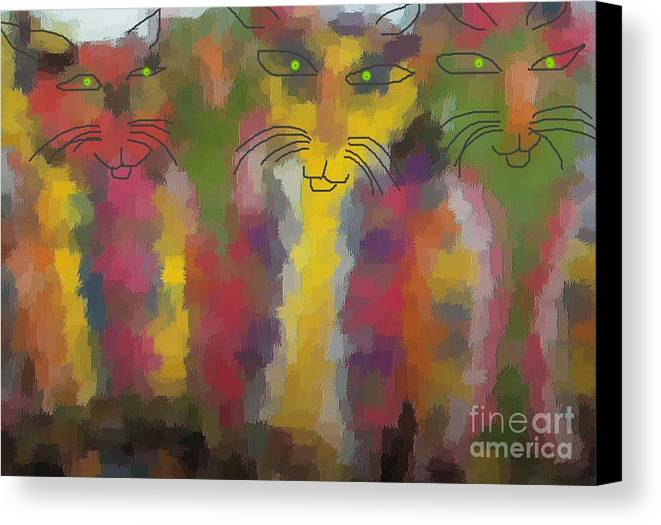 Cat Portraits Canvas Print featuring the painting Cats by Don Phillips
