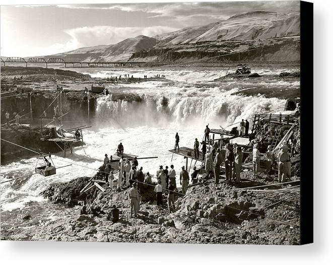 Canvas Print featuring the photograph Celilo Falls by Unknown