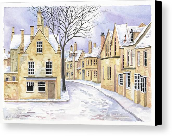 Chipping Campden Canvas Print featuring the painting Chipping Campden In Snow by Scott Nelson